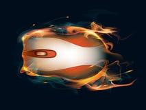 Ratón del ordenador en el fuego Imagenes de archivo