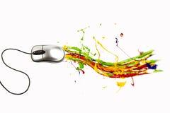 Ratón del ordenador que hace el movimiento de la pintura Imágenes de archivo libres de regalías