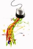 Ratón del ordenador que hace que la pintura salpica Foto de archivo