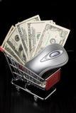 Ratón del ordenador y $100 cuentas de dólar en compras Fotografía de archivo libre de regalías