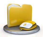 Ratón del ordenador y carpeta amarilla