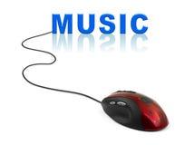 Ratón del ordenador y música de la palabra Imágenes de archivo libres de regalías