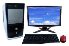 Ratón del sistema, del monitor, del teclado y de la radio de la PC del equipo de escritorio aislado en blanco foto de archivo libre de regalías