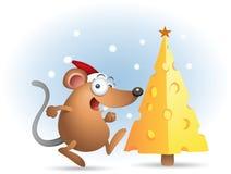 Ratón feliz con queso de la Navidad Imagen de archivo libre de regalías