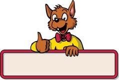 Ratón feliz de la historieta con el tablón de anuncios Imagen de archivo