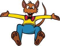 Ratón feliz de la historieta que salta en el aire Fotografía de archivo