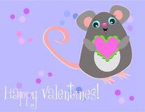 Ratón feliz de la tarjeta del día de San Valentín Fotografía de archivo