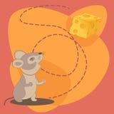 Ratón lindo de la historieta con queso Imagenes de archivo