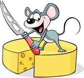 Ratón que sostiene un cuchillo del queso - vector Fotos de archivo
