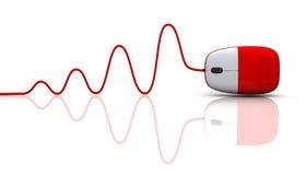 Ratón rojo del ordenador con el cable Imagenes de archivo