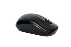 Ratón sin hilos negro del ordenador aislado en blanco Imagen de archivo