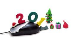 Ratón, texto 2011, árbol de navidad y regalos - 2 Imágenes de archivo libres de regalías