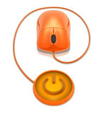 Ratón y botón de la potencia stock de ilustración