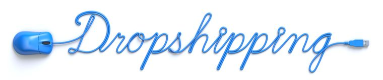 Ratón y cable azules en la forma de la palabra dropshipping stock de ilustración
