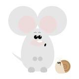 Ratón y caracol sorprendidos Fotografía de archivo