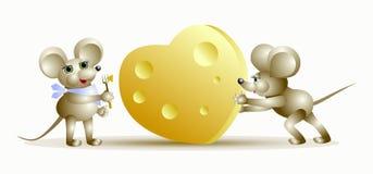 Ratón y queso en corazón de la forma Imagen de archivo