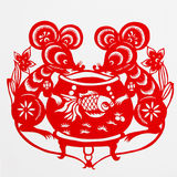 Rat. This paper-cut shows the rat, is one of the Chinese Zodiac Royalty Free Stock Photos