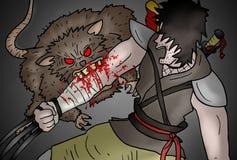 Rat attack vignette draw Stock Image