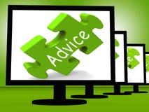 Rat auf Monitor-Show-Öffentlichkeits-Anleitung Stockbild