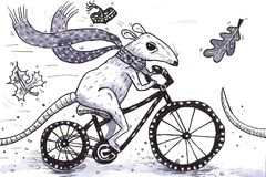 Rat on the bike. Autumn drawing rat on the bike black and white Royalty Free Stock Photo