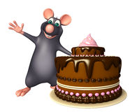 Rat cartoon character with cake Stock Photography
