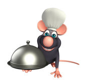 Rat cartoon character  with chef hat and cloche Stock Image