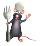 Rat cartoon character  with chef hat and spoons Royalty Free Stock Image