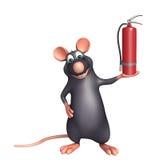 Rat cartoon character fire extinguisher. 3d rendered illustration of Rat cartoon character Royalty Free Stock Photos
