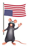 Rat cartoon character with flag. 3d rendered illustration of Rat cartoon character with flag Stock Photography