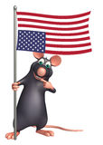 Rat cartoon character with flag. 3d rendered illustration of Rat cartoon character with flag Stock Photo