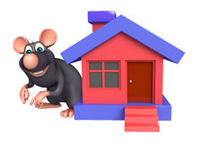 Rat cartoon character with home Royalty Free Stock Photo