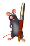 Rat cartoon character with pen Royalty Free Stock Image