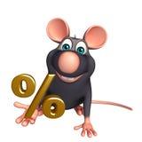 Rat cartoon character with percentage sign Stock Photos