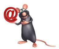 Rat cartoon character at the rate sign Stock Photo