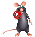 Rat cartoon character with at the rate sign Royalty Free Stock Photos