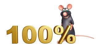 Rat cartoon character with 100% sign. 3d rendered illustration of Rat cartoon character with 100% sign Stock Photos