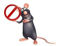 Rat cartoon character with stop sign Royalty Free Stock Photos