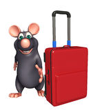 Rat cartoon character with travell bag Stock Photography