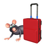 Rat cartoon character with travell bag Royalty Free Stock Photos