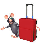 Rat cartoon character with travell bag Stock Photo