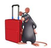 Rat cartoon character with travell bag Stock Photos