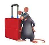 Rat cartoon character with travell bag Stock Photos