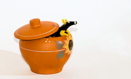 Rat in ceramic pot collage. Royalty Free Stock Photography