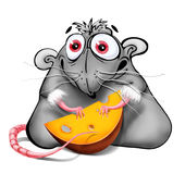 Rat with cheese. Illustration of 2008 year symbol - rat with piece of cheese - isolated on white Royalty Free Stock Image