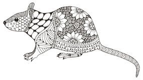 Rat chinese zodiac sign zentangle stylized, vector illustration, Royalty Free Stock Photo