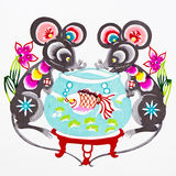 Rat, Color Paper Cutting. Chinese Zodiac. Stock Images