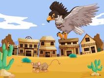 Rat contagieux d'Eagle dans le désert illustration stock