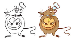 Rat cook. Doodle and colorful rat cook with cheese Stock Photo