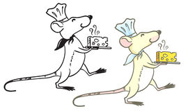 Rat cook. Doodle and colorful rat cook with cheese Stock Image