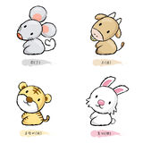 Rat and Cow, Tiger and Rabbit Mascot. Stock Images